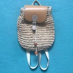 Vintage Macrame Woven Backpack Purse!!